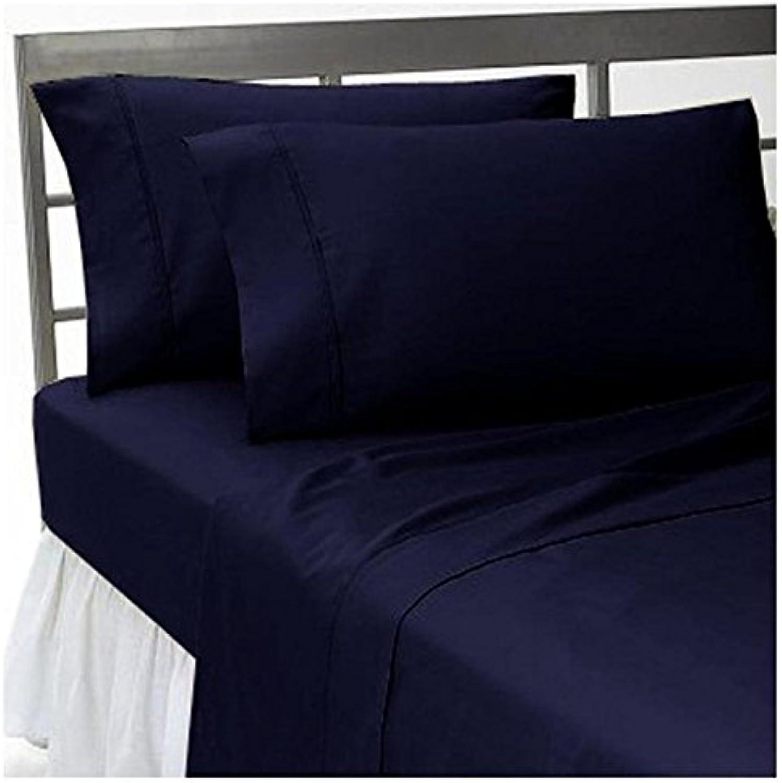 Dreamz Bedding Premium de qualité 600-thread-count Coton égypcravaten de lit 76,2cm Poche Profonde suppléHommestaire Unique Long, Bleu Marine Solide, 600tc 100% Coton Parure de lit
