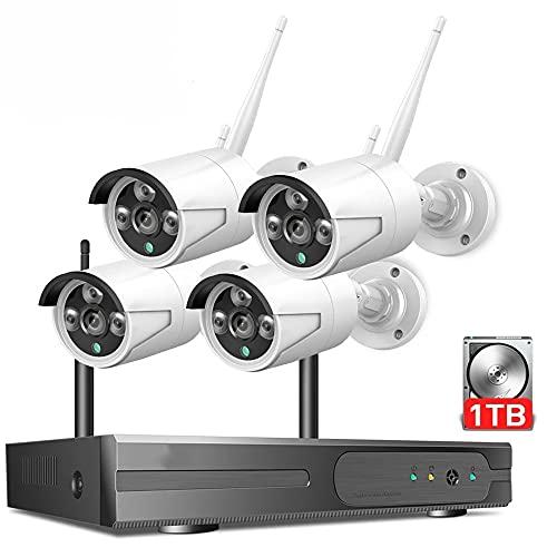 4ch 1080p Sistema De Cámara De Seguridad Inalámbrica,4 PIEZAS Cámara De Seguridad Wifi,Impermeable,Visión Nocturna,Alerta De Movimiento,7x24 Monitoreo En Tiempo Real ( Size : Standard Kit+1TB HDD )