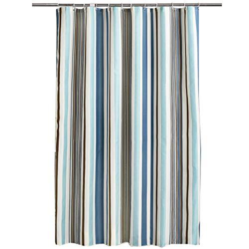 Opplei Stoff Polyester Duschvorhang mit Kunststoffhaken, romantische Streifen Duschvorhang Wohnkultur Bad Set, Fenster Balkon wasserdicht, viele Größen