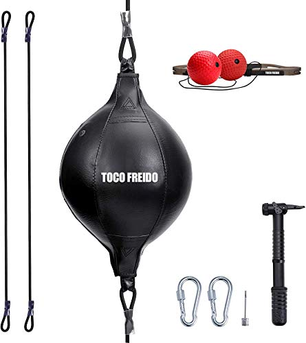TOCO FREIDO Double End Punching Ball, Speed Bag with 2 Difficulty Levels Boxing Reflex Ball with Headband, Perfect for Reaction, Agility, Punching Speed, Fight Skill and Hand Eye Coordination Training