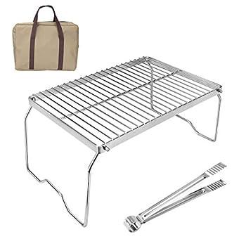 welltop Barbecue à Charbon de Table Pliable Portable en Acier Inoxydable pour Pique-Nique, Jardin, terrasse, Camping, Voyage
