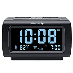 DreamSky Digital Alarm Clock Radio FM with USB Port for Charging, 1.2 Inch Blue Digit Display with 0%-100% Dimmer, Temperature, Snooze, Adjustable Alarm Volume, Sleep Timer, 12/24H