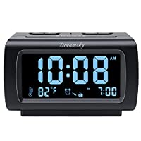 Elegant Digital Alarm Clock with Full Range Dimmer for Bedroom: 4 Inches large LCD screen with eye easy catch blue number display, time and clock display are easy to read at a glance. 100%-0% completely adjustable display brightness for comfortable v...