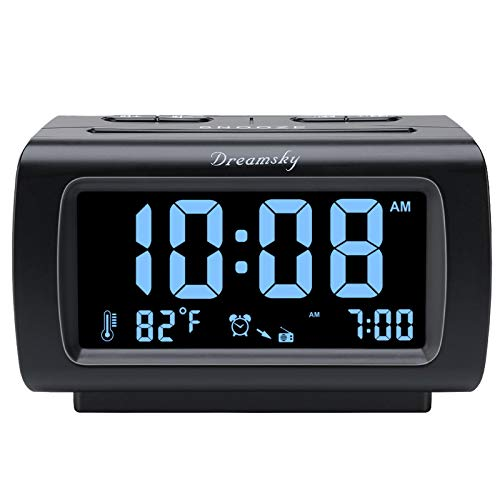 DreamSky Decent Alarm Clock Radio with FM Radio, USB Port for Charging, 1.2 Inch Blue Digit Display with Dimmer, Temperature Display, Snooze, Adjustable Alarm Volume, Sleep Timer