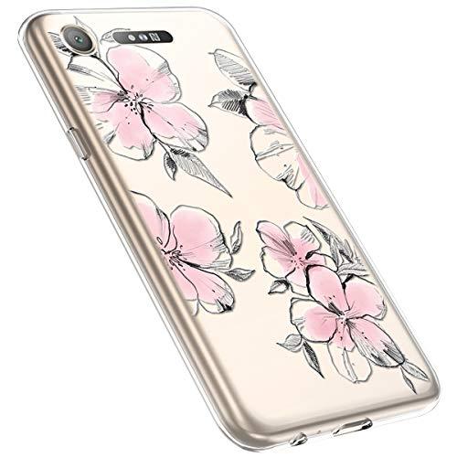 MoreChioce kompatibel mit Sony Xperia XZ1 Hülle,Xperia XZ1 Handyhülle Blume,Ultra Dünn Transparent Silikon Schutzhülle Clear Crystal Rückschale Tasche Defender Bumper,Blumenzweig #28