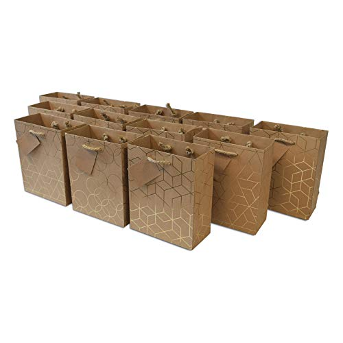 Medium Small Kraft Paper Gift Bags With Jute Handles & Hangtag, Assorted Gold Geometric Designs, Premium Quality Gift Bags, Shopping Bags for Birthdays, Baby Showers, Party Favors and Any Occasion 12 Pcs. - 6x3x7.5'