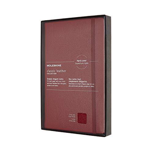 Moleskine Leather Notebook, Taccuino in Pelle Pagina a Righe, Edizione Limitata con Cofanetto e Coperchio Trasparente, Copertina Morbida, Formato Large 13 x 2, Rosso Bordeaux, 176 Pagine