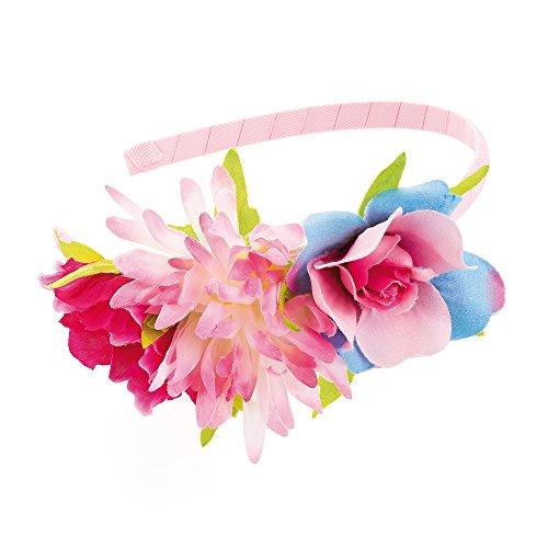 Girl's Pink and Blue Tone Flower Design Headband