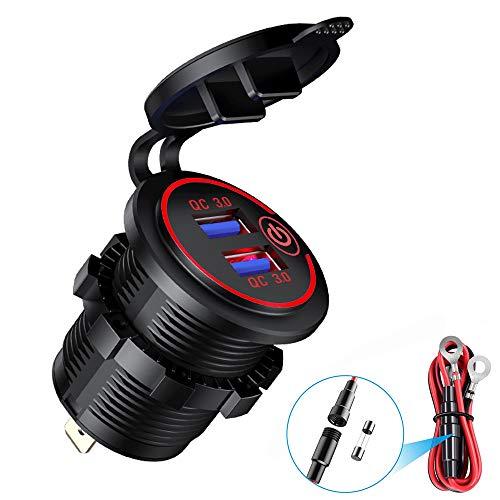 YGL QC 3.0 Cargador USB para moto, impermeable, 12 V/24 V, enchufe USB de coche con interruptor y LED, para coches, motocicletas, autobuses, remolques, barcos