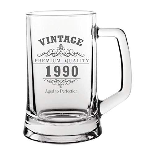 Vintage 1990 30th Birthday Jarra de cristal de pinta