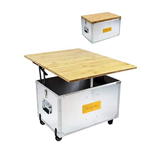 XDD Alle Aluminiumlegierung Auto Camping Küche Outdoor Kochstation Tragbare Horizontale Hebebambus Tischplatte Mit Nachlauf Design 60 Liter Stauraum