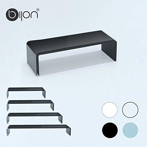 bijon® TV Aufsatz Glas Bildschirm-Erhöhung | PC Monitor-Erhöhung, Schreibtisch-Aufsatz für Laptop Erhöhung, Monitor-Erhöhung | (B/T/H) 350x250x110mm - schwarz