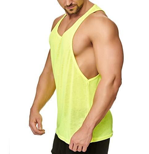 Muscle Shirt Herren Tank Top Achselshirt mit tief geschnittenem Armausschnitt Neon Gelb, Größe:L