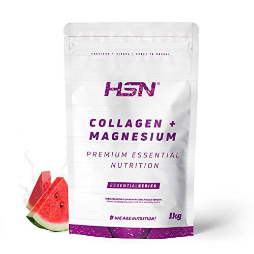 Colágeno Hidrolizado con Magnesio de HSN | Origen Bovino | Con Vitamina C | Belleza Natural de Piel, Cabello y Uñas | Sin Lactosa, Sabor Sandía, En Polvo, 1 Kg