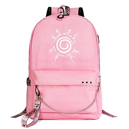 KUGRRFRC Mochilas Naruto Naruto Mochila escolar para estudiantes, mochila de moda informal ultrafina, impermeable y duradera con cadena USB