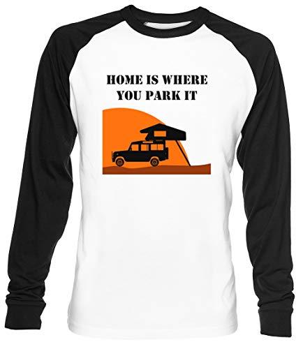 Home is - Defender 110 - Roof Tent Unisex Weiß Baseball T-Shirt Herren Damen Baseball T-Shirt