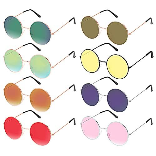 HAKOTOM 8er Hippie Brille Retro Sonnenbrille 60er Jahre Gläser John Lennon Rundbrille Vintage Partybrille Farbige Kostümbrille Kostümzubehör für Karneval Mottopartys Maskerade Herren Damen