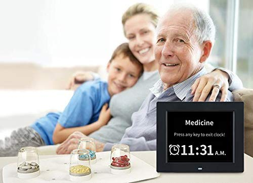 [12 Alarm Options] Day Clock- Extra Large Impaired Vision Digital Calendar Alarm Day Clock, Non-Abbreviated Day & Month for Dementia,Alzheimer ,Memory Loss(8 Inch)