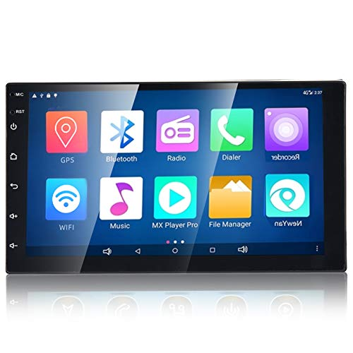 WZTO 7 Inch Double Din Android Car Stereo Multimedia Radio,GPS Navigation HD Touchscreen Receiver,Bluetooth,Audio,WiFi,iOS&Android Phone Mirror Link,Front&Backup Camera Input (1G RAM+16G ROM)