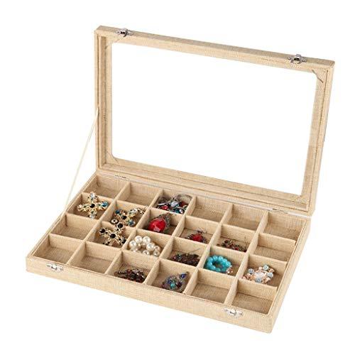 Jewelry Box Joyero De Lino Vintage Caja De Almacenamiento De Anillo De Collar (Vidrio con Tapa) Variedad Cuadrada De Vitrina De Joyería Opcional (Color : FlaxenB, Size : 35.5×24.5×5cm)