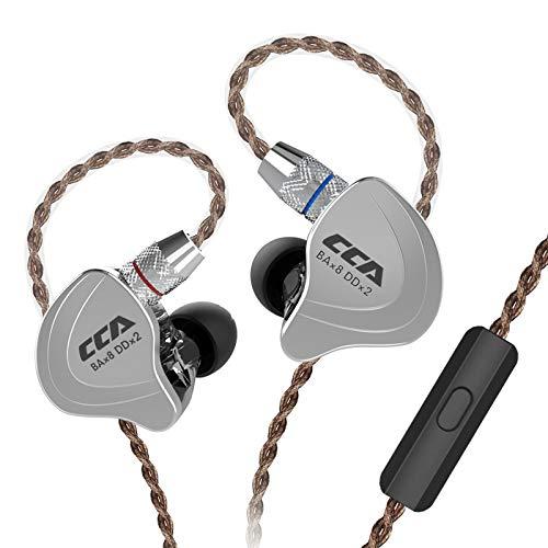 CCA C10 Kopfhörer 4BA 1DD Hybrid 4 Balanced Armature und 1 Dynamic Drivers Kopfhörer mit 2-poligem Ersatzkabel With Mic Schwarz
