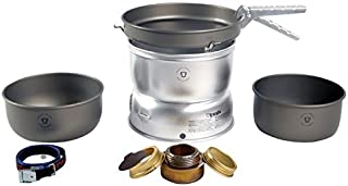Trangia - 25-7 Ultralight Hard Anodized Camping Cookset With Gas Burner | Includes: Gas Stove, 2 HA Pots, HA Frypan, Upper & Lower Windshield, Pot Gripper, & Strap