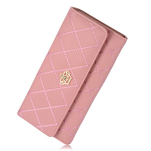 Women's wallet Elegant Clutch Crown Wallet Long Purse Leather Wallet (Pink)