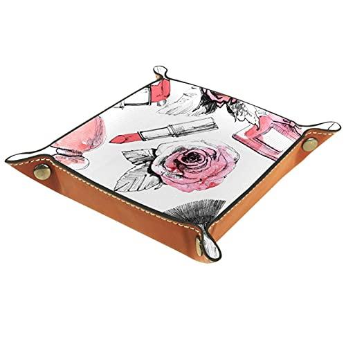 Organizador de mesita de noche con bandeja de valet, bandeja de cuero para perfume, joyería, llave y control remoto en el mostrador o tocador Perfume de lápiz labial rosa 16x16cm