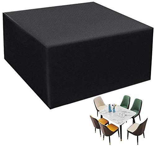 QIANC Fundas de Muebles,Funda Muebles Jardin Impermeable,Cubierta de Mesa de Jardín,Anti-UV,para Mesas y Sillas de Comedor al Aire Libre,185x117x170cm(72x46x66in)-Black