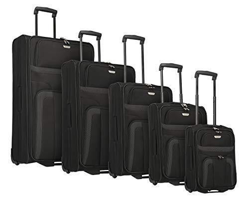 Travelite 2-Rad Koffer Set 5 Trolley Größen XL/L/M/S/XS, Handgepäck erfüllt IATA Bordgepäck Maß, Gepäck Serie ORLANDO: Klassischer Weichgepäck Trolley im zeitlosen Design, 098525-01, schwarz