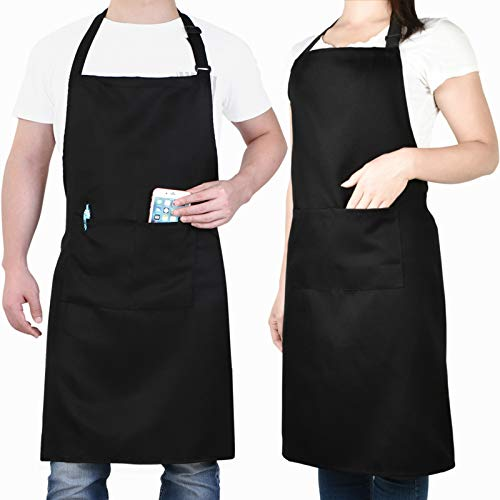 Will Well Adjustable Bib Aprons Water Oil Stain Resistant Black Kitchen Chef Cooking Aprons with Pockets for Men Women 2 Pack