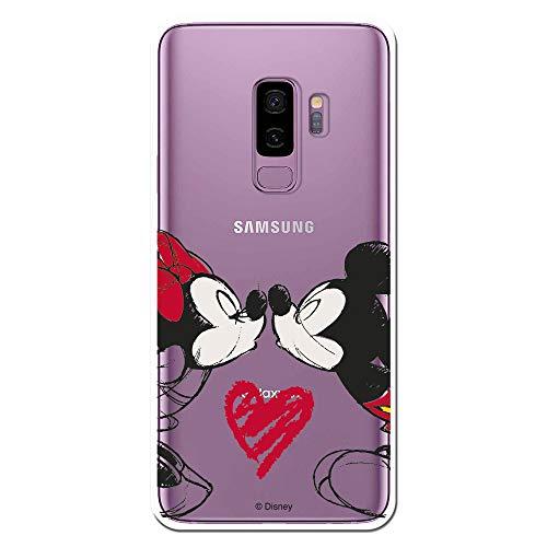 Funda para Samsung Galaxy S9 Plus Oficial de Clásicos Disney Mickey y Minnie Beso para Proteger tu móvil. Carcasa para Samsung de Silicona Flexible con Licencia Oficial de Disney.
