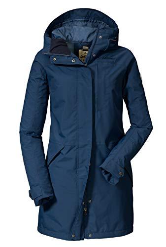 Schöffel Malmö Damen Parka, leichte Damen Jacke für Frühjahr und Sommer, wasserdichte Sommerjacke für Frauen mit praktischen Taschen , sargasso sea , 34