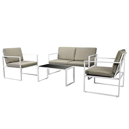 vidaXL Salon de Jardin 4 pcs avec Coussins Mobilier de Patio Meubles de Terrasse Mobilier d'Extérieur Ensemble de Canapé de Jardin Acier Blanc