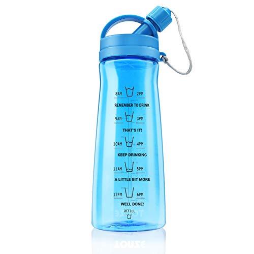 1L Botella Gimnasio sin BPA Tritan Plastico Reutilizable Botellas de Agua Deporte Gran Capacidad Prueba de Fugas Senderismo Ciclismo Yoga Water Bottles, Azul