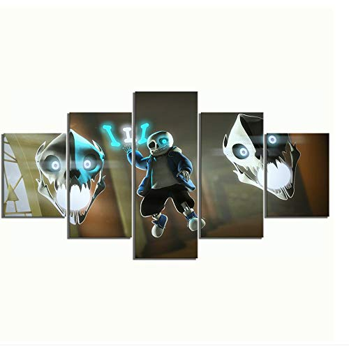 5 Piece Canvas Wall Art Undertale Sans Anime Cartoon Characters Living Room Bedroom Pictures Painting Hd Posters Modern Artwork Home Decor