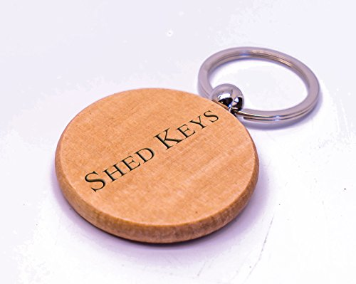Personalised Round Shed Keys Wooden Keyring, Laser Engraved With Any Message,