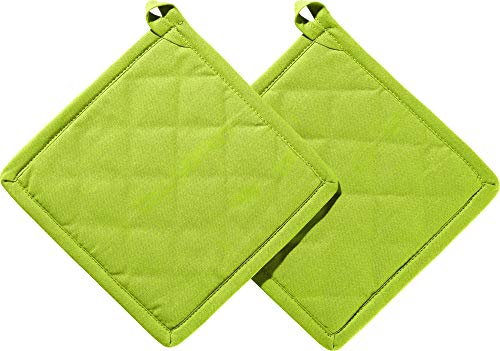 REDBEST Topflappen 2er-Pack Seattle, 100% Baumwolle grün Größe 20x20 cm - innen hitzebeständige Wattierung, außen feines, glattes Gewebe, mit Schlaufe (weitere Farben)