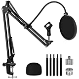 InnoGear Microphone Stand, Adjustable Mic Stand Set for Blue Yeti Nano Suspension Boom Scissor Arm Stand with 5/8