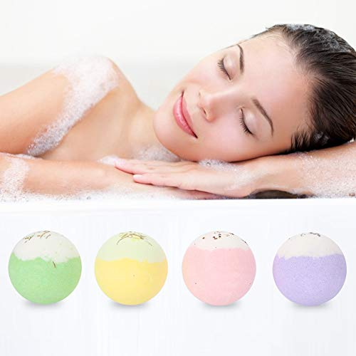 Bombe de bain à la main, huile essentielle biologique pour femmes, 4 x 100 g de Spa corporel au sel de bain avec capacité de désintoxication ajoutée,