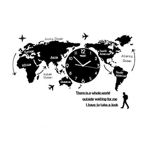 Crazyfly Reloj de pared, diseño de mapa del mundo nórdico, moderno, minimalista, acrílico, para decoración del hogar, dormitorio, oficina