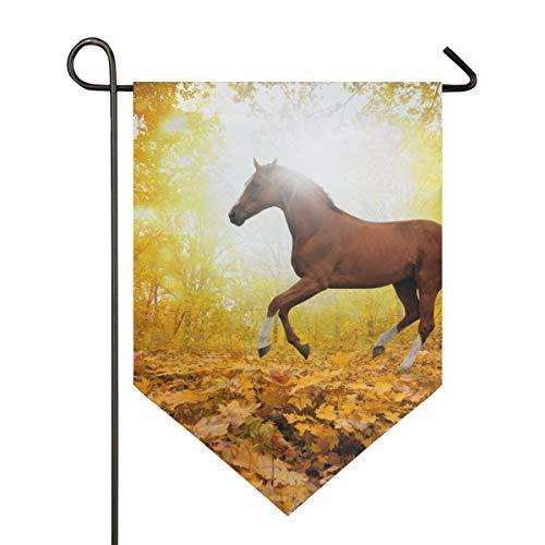 FANTAZIO Paard In Esdoorn Blad Bos Tuinvlaggen Premium Kwaliteit Yard Vakantie en Seizoensgebonden Decoratieve Vlaggen Outdoor Decoratieve Vlaggen - Dubbelzijdig 12x18.5in 1 exemplaar