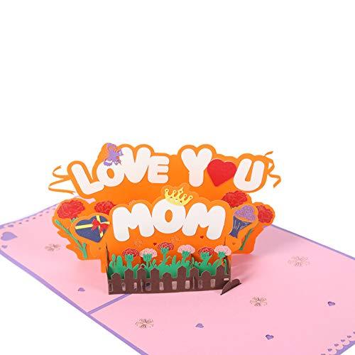 3D-Blumenkarte für Mutter,Popup Empfangenunschkarte mit Blumenstrauß,3D Muttertagskarte von der Tochter,Geburtstagskarte für Mama,Grußkarte für die Mutter