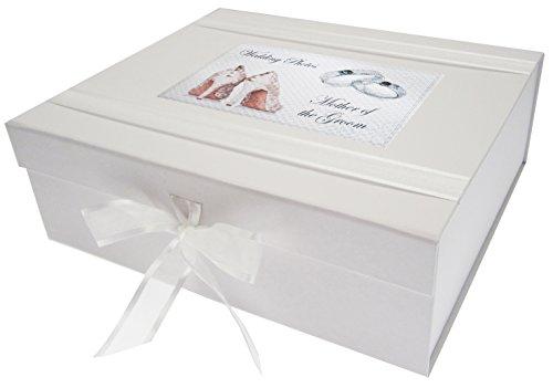 White Cotton Cards–Caja de Recuerdo de día, Madre del Novio Grande, Zapatos y diseño de Anillos de Boda, Junta, Color Blanco, 27,2x 32x 11cm