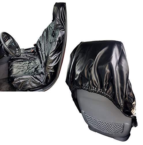2er Set Auto Werkstattschoner Autositz aus robustem Kunstleder | KFZ Sitzbezug Universal | abwaschbarer Schonbezug - Farbe schwarz | Universal Sitzschoner mit Kopfstützenabdeckung Überzug wasserdicht