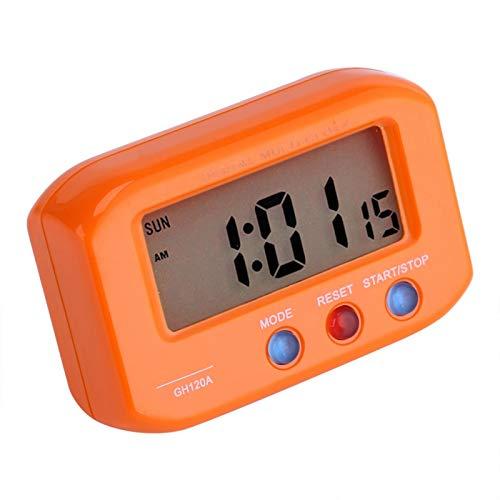 Aukson Reloj Despertador Digital con Pantalla LCD, Reloj de Escritorio para decoración de Coche, con función de Alarma y repetición para el Escritorio de los dormitorios(Orange)