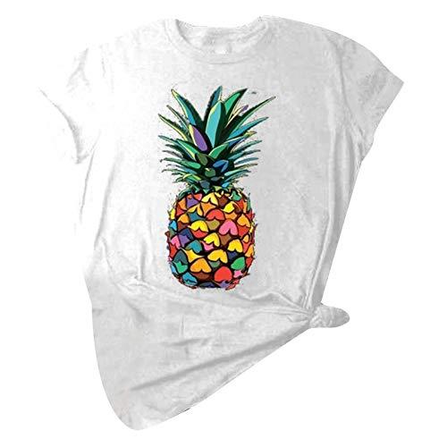 NICOOD Sommer, Bunte Ananas-Print T-Shirt Rundhalsausschnitt Kurzarm Locker Lässig Damen Top
