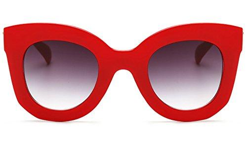 Butterfly Sunglasses Semi Cat Eye Glasses Plastic Frame Clear Gradient Lenses (Red, 45MM)