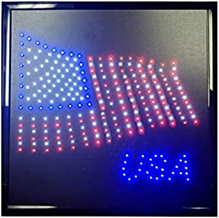 """Decorative Novelty LED Signs for Wall Decor, Man Cave, Wet Bar Accessories (19"""" L x 19"""" W x 1"""" H, USA Flag)"""