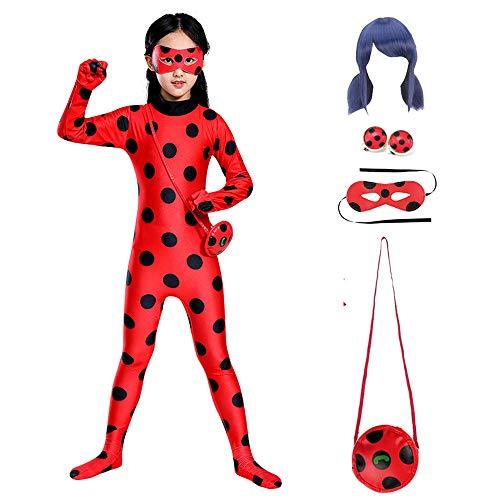 KLCH Classico fantasia Costume Ladybug per bambini, Tuta cosplay coccinella con maschera, orecchie clip, parrucca e borsa, Ladybug jumpsuit per Carnevale Natale Halloween M(120-130cm)